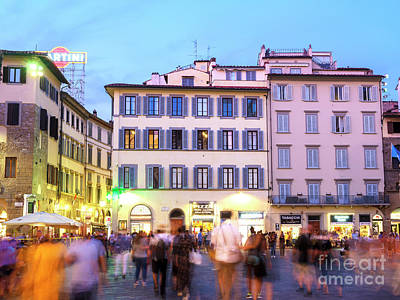 Photograph - Night Walk Through Piazza San Giovanni Florence by John Rizzuto