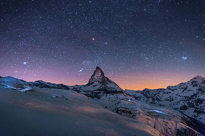 Photograph - Night Winter Landscape Of Matterhorn by Coolbiere Photograph