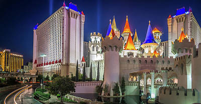 Photograph - Nightime On Vegas Strip In Las Vegas Nevada by Alex Grichenko