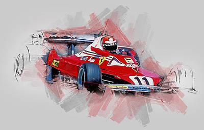 Painting - Niki Lauda - 12 by Andrea Mazzocchetti
