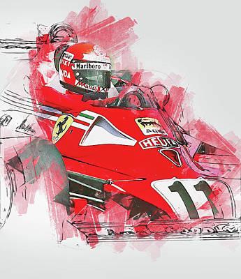 Painting - Niki Lauda - 14 by Andrea Mazzocchetti