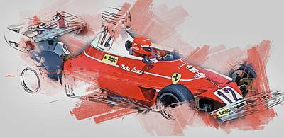 Painting - Niki Lauda - 15 by Andrea Mazzocchetti
