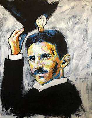 Painting - Nikola Tesla by Konni Jensen