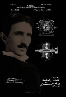 Photograph - Nikola Tesla Patent Drawing by Carlos Diaz