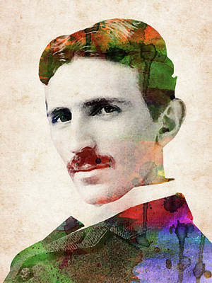 Digital Art Rights Managed Images - Nikola Tesla watercolor portrait Royalty-Free Image by Mihaela Pater