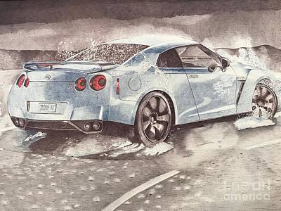 Super Cars Drawing - Nissan Gt-r by Oleg Kozelskiy