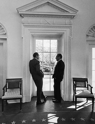 Talking Photograph - Nixon And Kissinger by Frederic Lewis