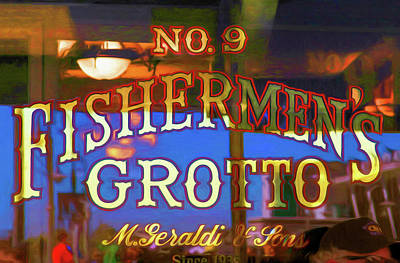 Photograph - No. 9 Fishermens Grotto Window Signage by Bonnie Follett
