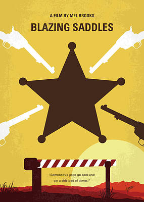 Digital Art - No1014 My Blazing Saddles Minimal Movie Poster by Chungkong Art