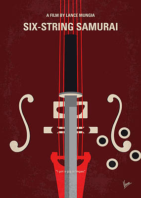 Digital Art - No1020 My Six-string Samurai Minimal Movie Poster by Chungkong Art