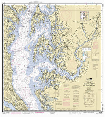 Digital Art - Chesapeake Bay, Cove Point To Sandy Point Nautical Chart by Paul and Janice Russell