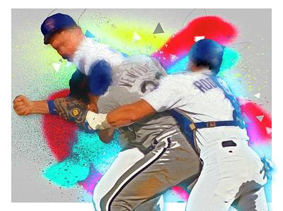 Digital Art - Nolan Ryan, Robin Ventura Brawl by Max Huber
