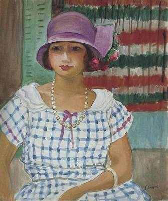 Vintage College Subway Signs Color - Nono in a Pink Hat, 1915 by Henri Lebasque