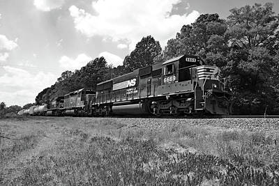 Photograph - Norfolk Southern Sd60 6669 B W 1 by Joseph C Hinson Photography