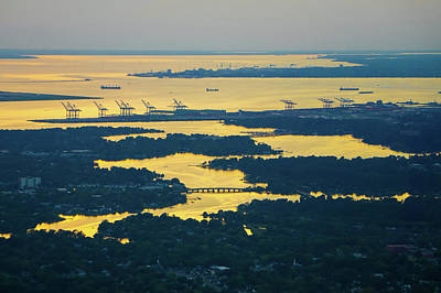 Photograph - Norfolk Virginia Va Port City At Sunset by Alex Grichenko