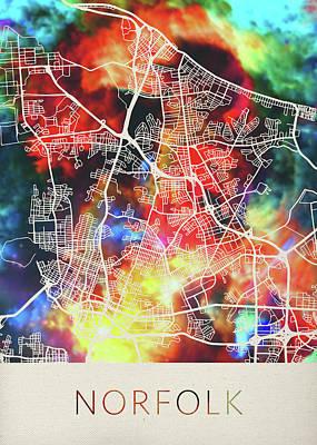 Norfolk Wall Art - Mixed Media - Norfolk Virginia Watercolor City Street Map by Design Turnpike