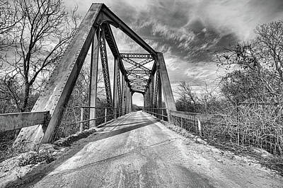 Photograph - North Bosque River Bridge Hico Texas Black And White by JC Findley