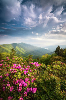 Landscapes Royalty-Free and Rights-Managed Images - North Carolina Blue Ridge Parkway Asheville NC Mountains Landscape by Dave Allen