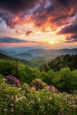 Landscapes Royalty-Free and Rights-Managed Images - North Carolina Great Smoky Mountains Sunset Landscape Cherokee NC by Dave Allen