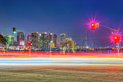 Photograph - North Harbor Drive Lights by Joseph S Giacalone