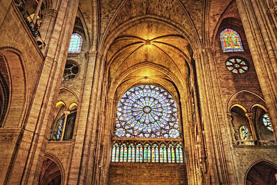 Photograph - North Rose Window Of Notre Dame Cathedral by Kay Brewer