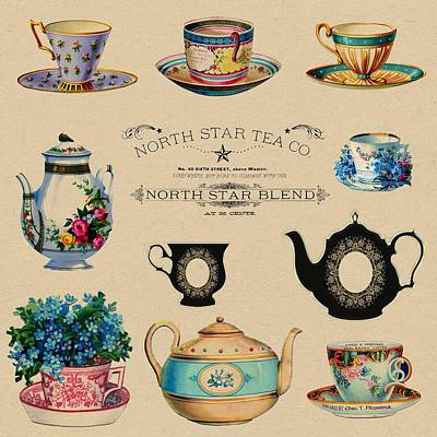 Painting - North Star Tea Co Tea Advertisement by Shabby Chic and Vintage Art