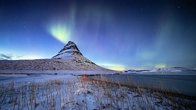 Photograph - Northern Lights Atop Kirkjufell Iceland by Nathan Bush