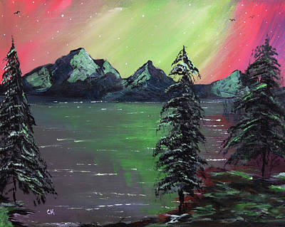 Painting Rights Managed Images - Northern Lights Lake Royalty-Free Image by Chance Kafka