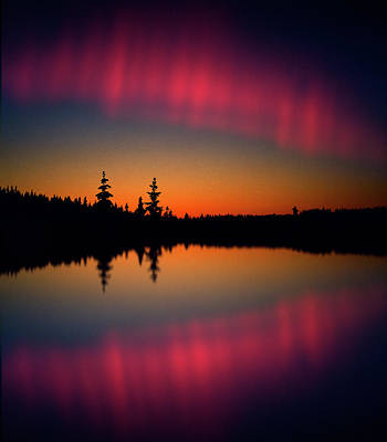Photograph - Northern Lights Reflecting On A Lake by Per-andre Hoffmann / Look-foto