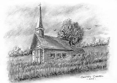 Drawing - Nostalgic Country Chapel by Barry Jones