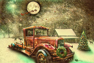 Digital Art - Nostalgic Red Truck On Christmas Eve  by Debra and Dave Vanderlaan