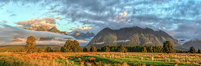 Photograph - Nothing To See Just Landscape With Sheep In Nz  New Zealand South Island Panorama By Olena Art by OLena Art Brand