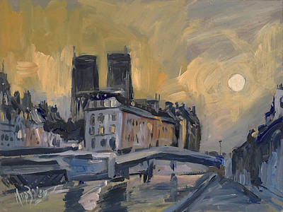 Painting - Notre Dame After Jongkind by Nop Briex