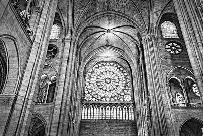 Photograph - Notre Dame Cathedral Black And White by Kay Brewer