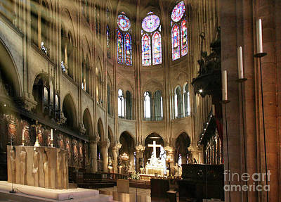 Photograph - Notre Dame Cathedral Interior Color  by Chuck Kuhn