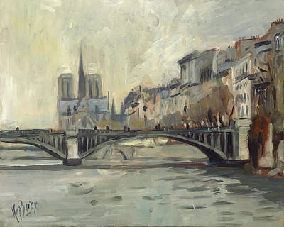 Painting - Notre Dame During Winter by Nop Briex