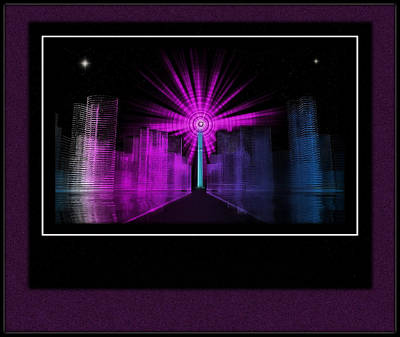 Tron Wall Art - Digital Art - Nova Over Tron City by Mario Carini