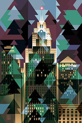 Abstract Skyline Digital Art Rights Managed Images - November Magic Detroit Royalty-Free Image by Garth Glazier