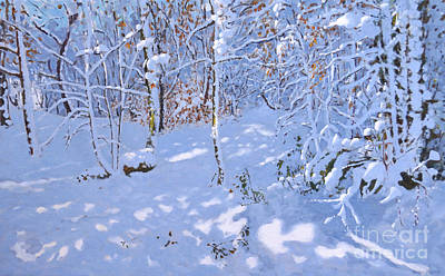 Painting - November Snow, Allestree Woods, Derby by Andrew Macara