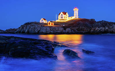 Photograph - Nubble Christmas by Michael Blanchette