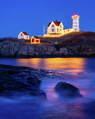 Photograph - Nubble Christmas - Vertical by Michael Blanchette