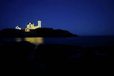 Photograph - Nubble Light - Night Light by Luke Moore