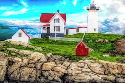 Digital Art - Nubble Light York Maine. by Rusty R Smith