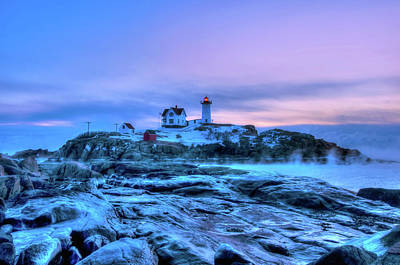 Photograph - Nubble Lighthouse Sunrise - York, Maine by Joann Vitali