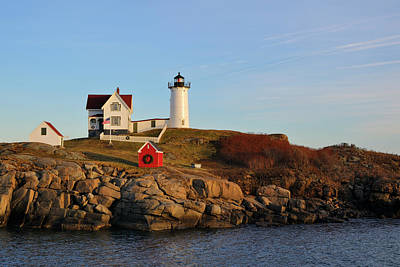 Photograph - Nubble Lighthouse With Holiday Decorations by Luke Moore