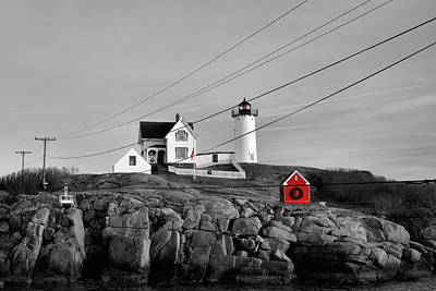 Photograph - Nubble Power - Christmas Red by Luke Moore