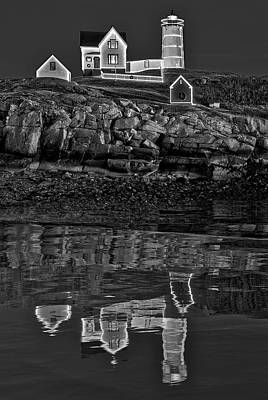 Photograph - Nubble Lighthouse Reflection Bw by Susan Candelario