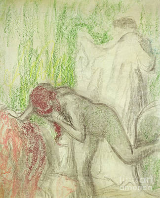 Pastel - Nude Getting Out Of The Bath  by Edgar Degas