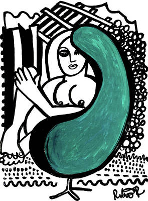 Painting - Nude Girl In Chair Original Art Signed Huge  by Robert R Splashy Art Abstract Paintings