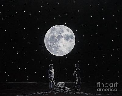 Painting - Nude Male Bathers Meet Up Under The Full Moon by Christopher Shellhammer